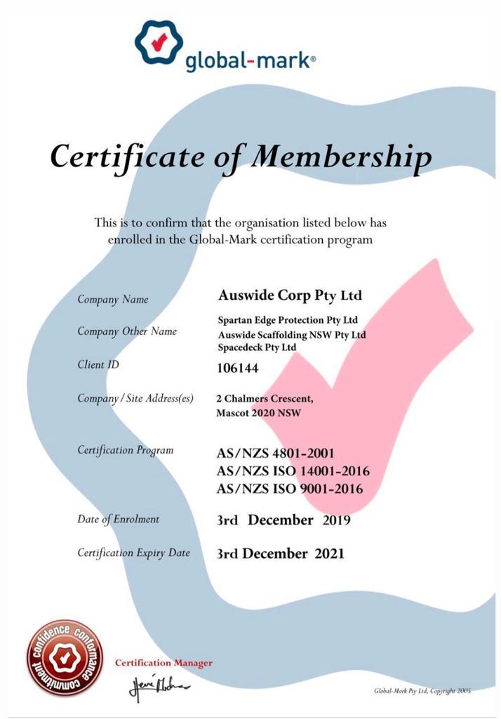 Global-Mark Certificate of Membership 2019-2021